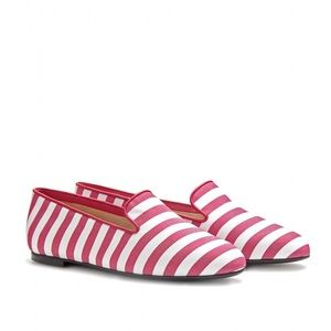Tods slipper style loafers stripe red white shoes